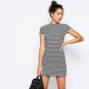 ASOS A-Line Shift Dress With High Neck In Stripe